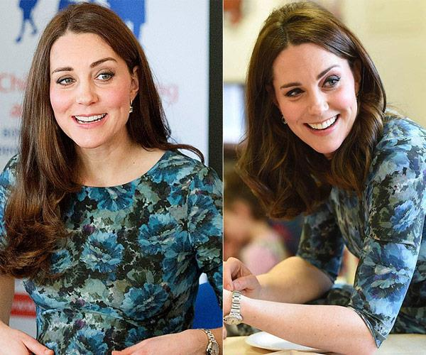 In January 2015 (L) at a morning coffee for the charity Family Friends and in January 2018 (R) at her London outing.