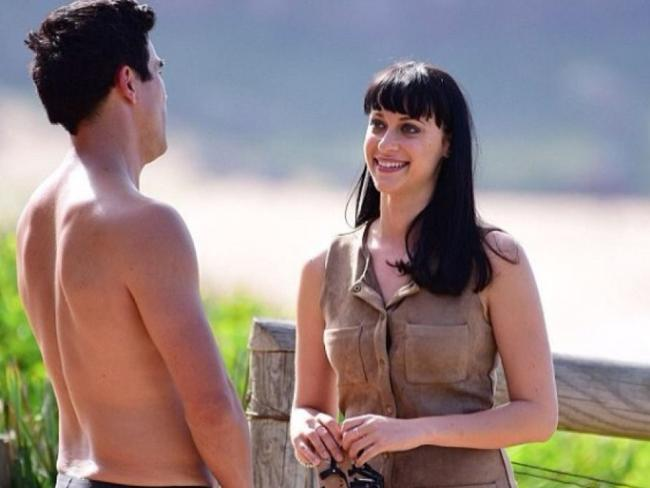 Jessica and James Stewart on set of *Home And Away*