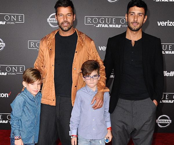The couple with their sons Matteo and Valentino.