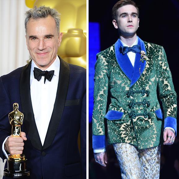 **Gabriel-Kane Day-Lewis - Daniel Day-Lewis' son** <br><br> You could spot the strong brow anywhere! Retired actor, Daniel Day-Lewis' son showed off his genetically blessed features on the runway. Gabriel-Kane Day-Lewis, 23, is also an aspiring singer and songwriter, citing Sam Smith as one of his great influences.