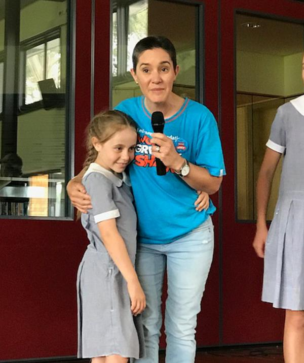 Carmen with her daughter, Ruby, thanking the St Laurence's school community for their support. *Photo: supplied*