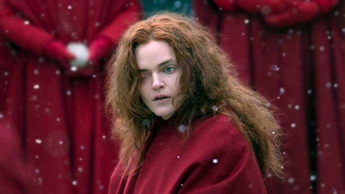 **Janine's punishment is set** Janine (Madeline Brewer) survived her plunge into the icy river after attempting to take back her baby. As punishment for 'endangering a child' she is sentenced to death by stoning – by the handmaids. Being forced to torture and kill someone they've loved and cared for is clearly something the women are not about to do, so, led by June, they all band together and drop their stones as an act of defiance.