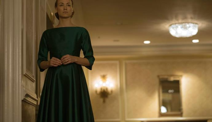"""**When we learn Mrs Waterford's past** Throughout the season, we start learning more and more of everyone's past. One of the most shocking? Serena Joy Waterford (Yvonne Strahovski). Turns out she was a champion for women's rights and an author of a book called *A Woman's Place*, which said the line: """"Never mistake a woman's meekness for weakness."""" Cheers for the support, Serena. Her obsession to create life was so warped that she and her husband Fred were the crucial players in creating the messed up system that is Gilead."""