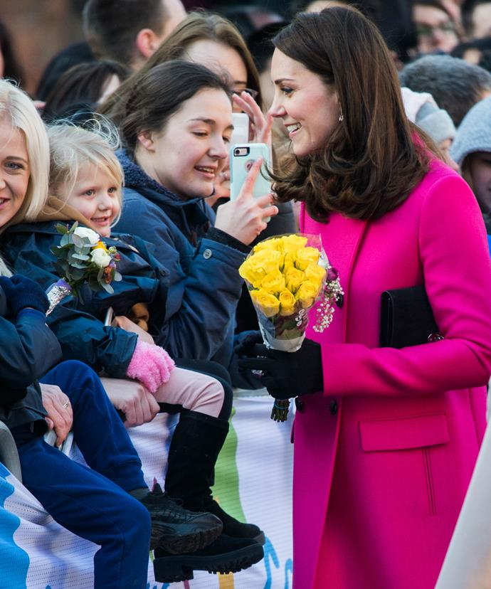 Kate, who is expecting her third child in April, took the time to chat with many of those who had waited in the cold to catch a glimpse of the royal couple.