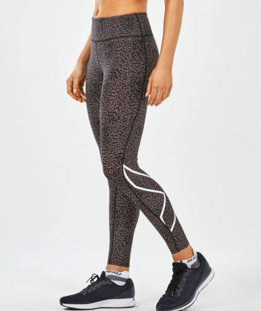 """Get the most out of your sweat sesh in [2XU's Mid-rise Print Compression Tights in CandlelightPeachBrokenMaze/Wht, $160.](http://www.2xu.com/au/p/mid-rise-print-compression-tights/WA4628b.html