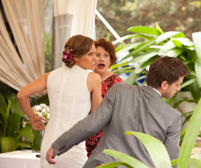 **Bianca punches Heath at their wedding (2013) **  Heath (Dan Ewing) and Bianca's (Lisa Gormley) big day has finally arrived. At the altar, Heath is a nervous wreck as he waits for his bride. But the groom's anxiety has nothing to do with cold feet. He's feeling guilty after cheating on Bianca with a waitress during his wild bucks' weekend. In a quieter moment at the ceremony, Heath confesses everything to his soon-to-be wife. In turn, a furious Bianca knocks her fiancé out cold with a powerful punch and flees the ceremony.