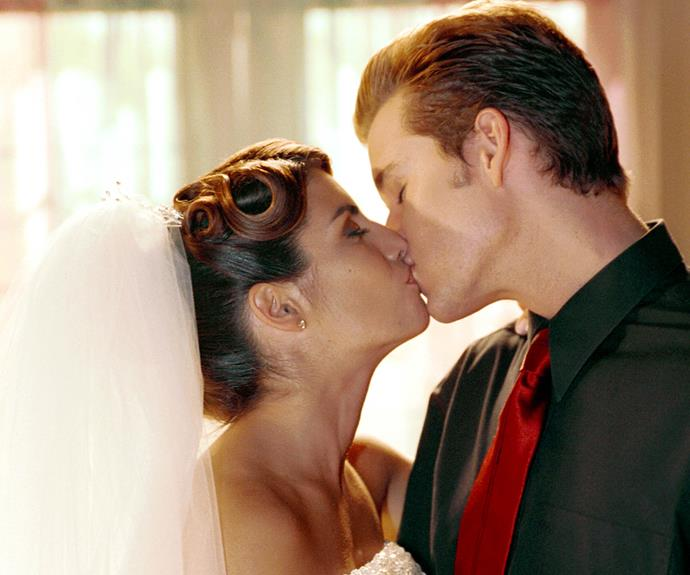 **Leah and Vinnie's big fat Greek wedding (2001) **  Larrikin lifeguard and part-time stripper Vinnie (Ryan Kwanten) seemed the least likely lad in Summer Bay to settle down. That is, until lovely Leah (Ada Nicodemou) arrived in town. The couple's big day is one of H&A's most colourful and extravagant weddings, combining Leah's Greek background with Vinnie's Scottish heritage. Despite plenty of meddling from their opinionated and overbearing mothers in the lead-up to the event, Leah and Vinnie's wedding goes off without a hitch.