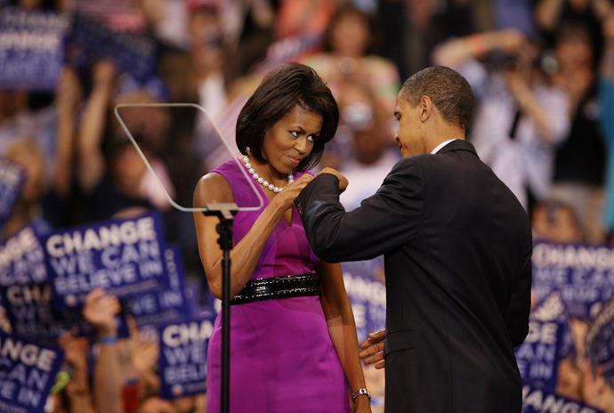 Let's take a moment to appreciate this candid, intimate moment between Barack and Michelle...