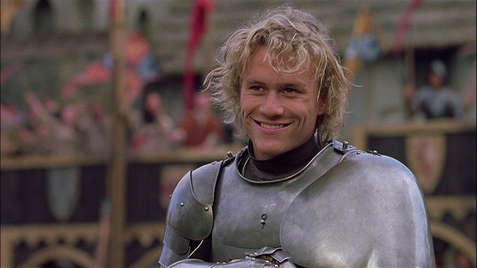 ***A Knight's Tale (2001)***: In his first lead role, Heath was a young peasant named William who pretended to be his deceased master in jousting battles in order to become a knight. Heath went on to star in a lot of period films – we bet he had a love for the costumes!
