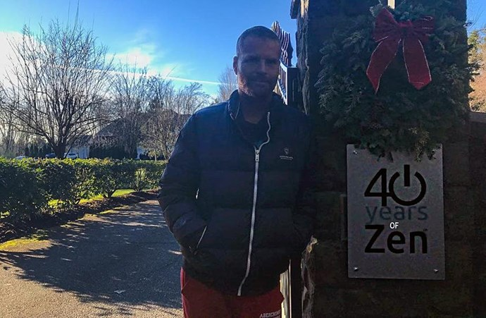 Pete Evans poses outside the 40 Years of Zen Training Center in Washington.