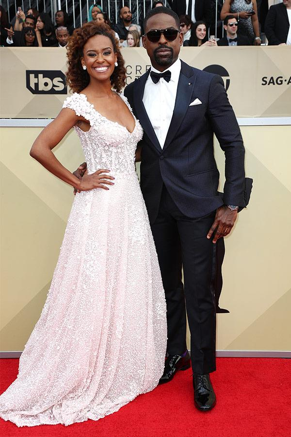*This is Us* star Sterling K. Brown brings the dapper factor in spades and how dreamy is his wife Ryan Michelle Bathe's beaded gown?