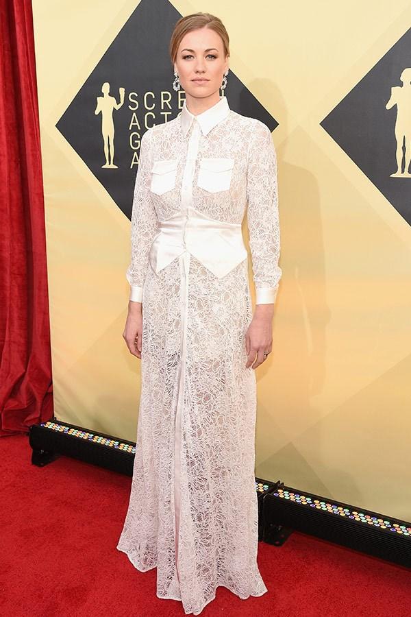 Australian *Chuck* star Yvonne Strahovski puts a modern spin on lace.