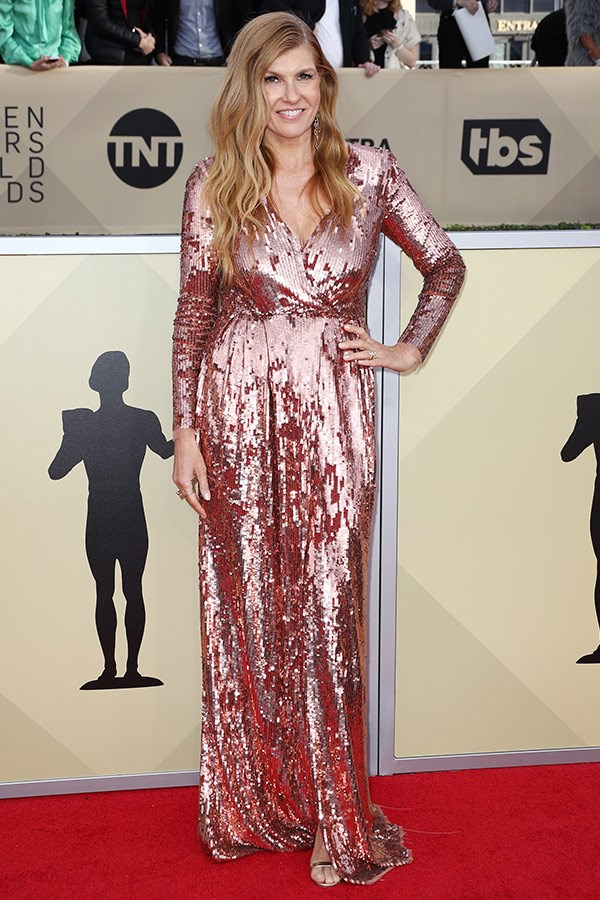 *Spin City*'s Connie Britton's wrap dress was fashioned from dusty pink sequins.