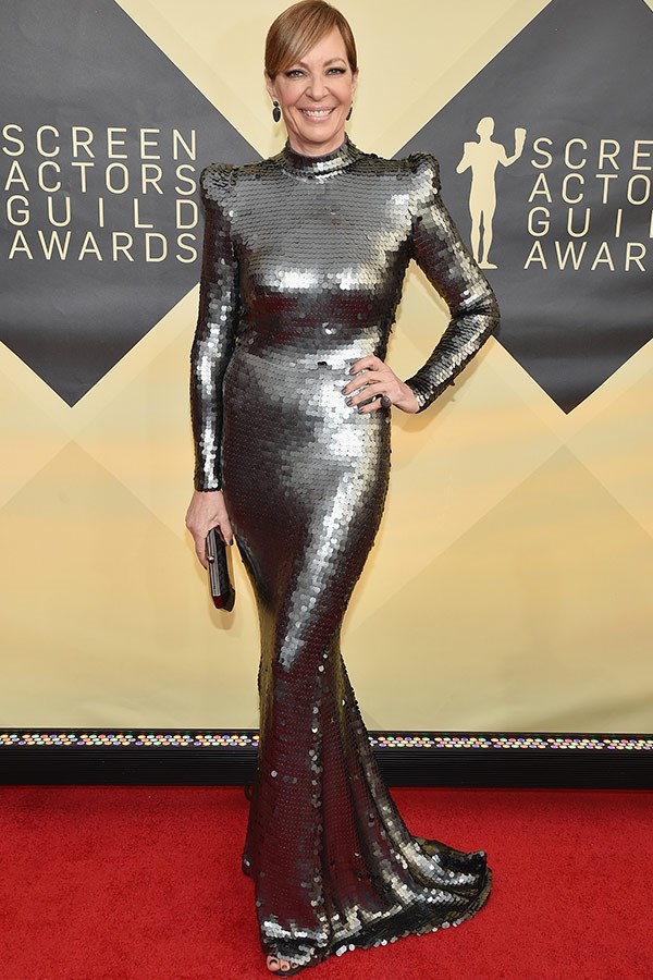 Allison Janney went futuristic-chic in this glittering gun-metal, gown.