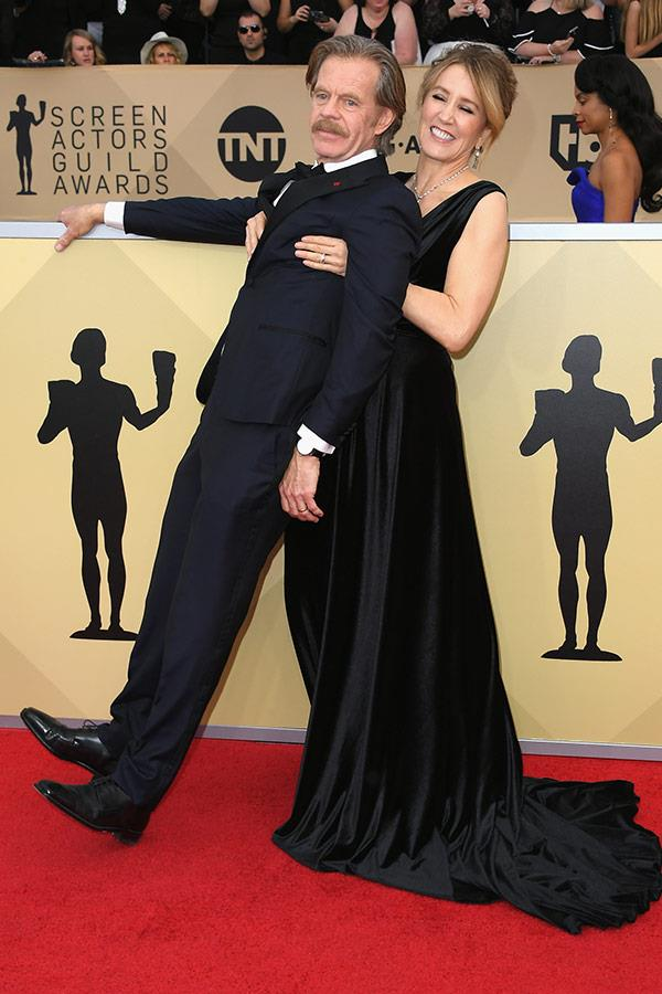 William H. Macy gets a helping hand from wife Felicity.