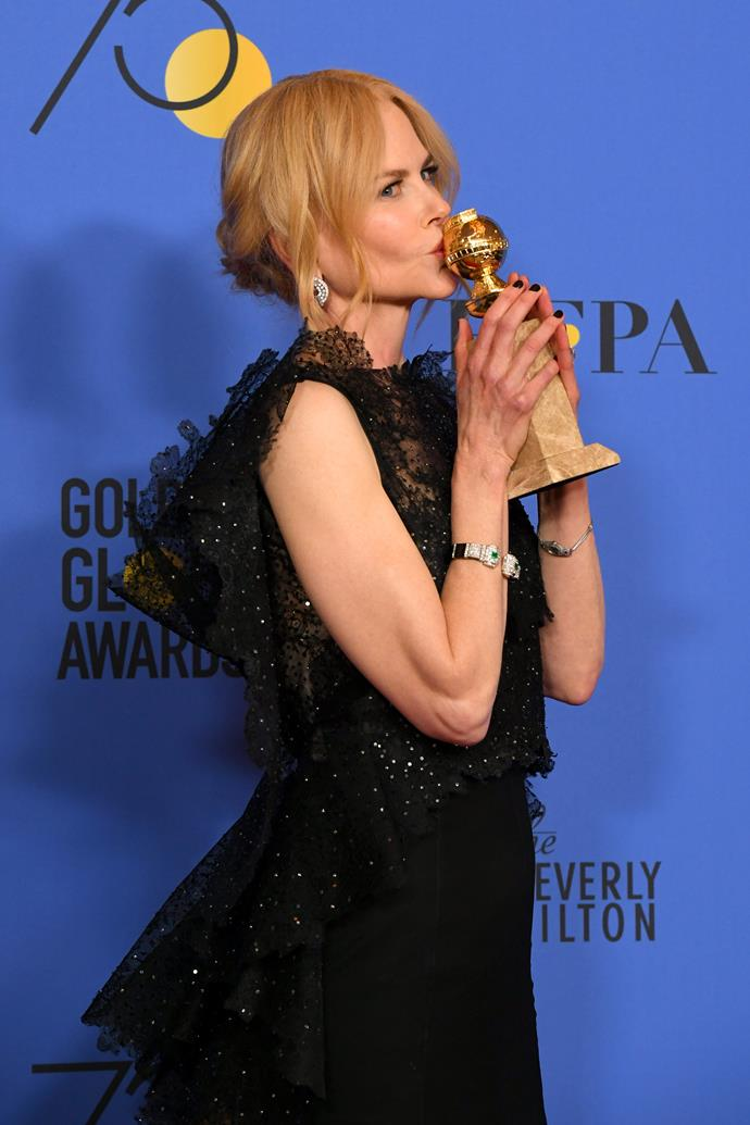 Nicole with her Golden Globe Award on January 7.