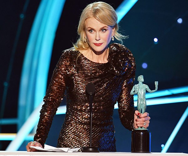 Nicole's work in *Big Little Lies* just landed her the Outstanding Performance by a Female Actor in a Television Movie or Miniseries award at the SAGs.