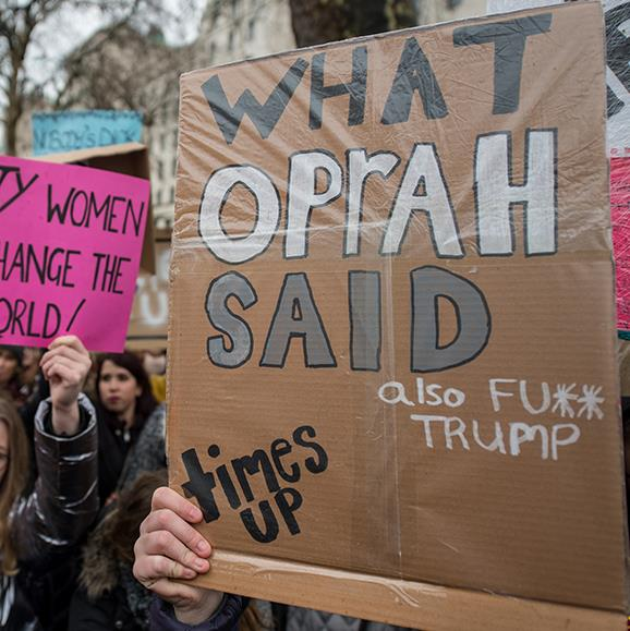 Well said! Women's rights demonstrators were out in force in London.
