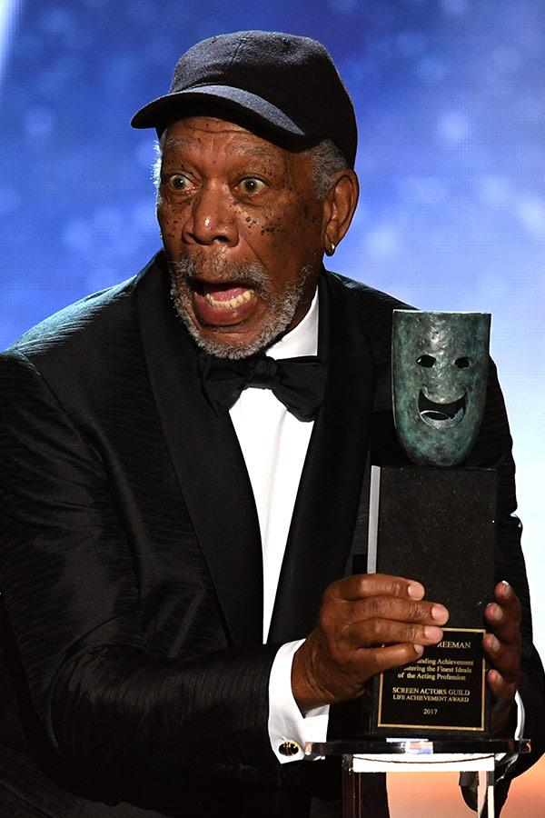 Even Morgan Freeman can't quite believe he's just been given the Screen Actors Guild Life Achievement Award.