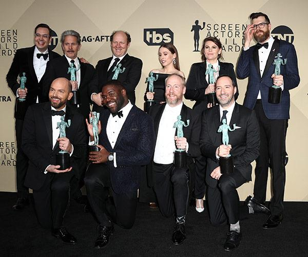 The cast of *Veep* get a group shot backstage.