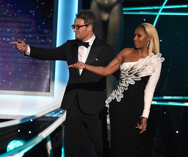 Presenters Mary J Blige and Jason Clarke.