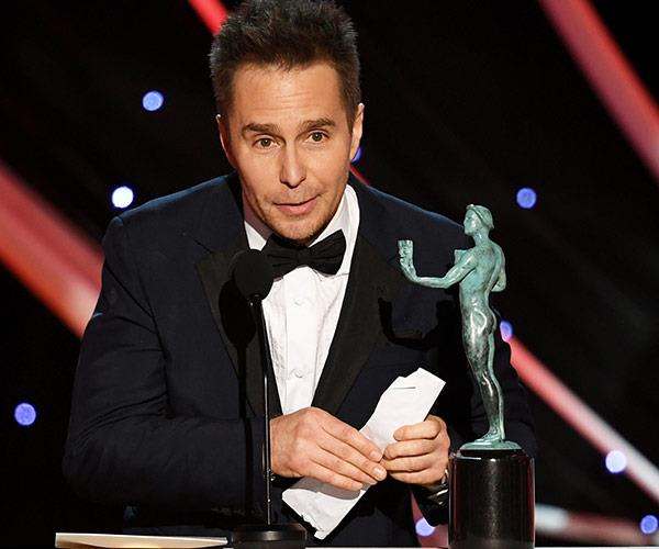 Outstanding Performance by a Male Actor in a Supporting Role goes to Sam Rockwell for  *Three Billboards Outside Ebbing, Missouri*.
