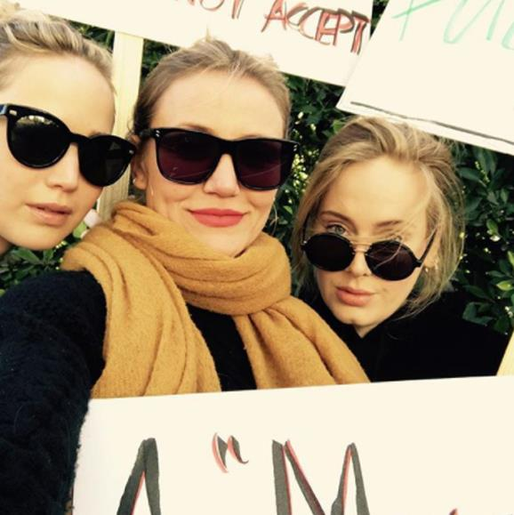 """Adele posted this star-studded shot to her Instagram account with the caption: """"The most influential people in my life have always been women. My family, my friends, my teachers, my colleagues, and my idols. I am obsessed with all the women in my life. I adore them and need them more and more every day. I am so grateful to be a woman, I wouldn't change it for the world. I hope I'm not only defined by my gender though. I hope I'm defined by my input to the world, my ability to love and to have empathy. To raise my son to be a a good man alongside the good man who loves me for everything I am and am not. I want what's best for people, I think we all do. We just can't agree on what that is. Power to the peaceful, power to the people."""""""