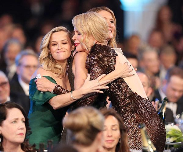 The *Big Little Lies* love is real! Reese, Laura and Nic share a congratulatory cuddle.