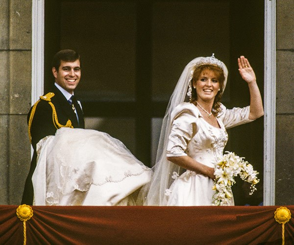 The Duchess of York was the embodiment of an eighties bride in a voluminous dress with intricate bead work by British designer Lindka Cierach.