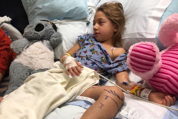 Emily Rose in hospital.