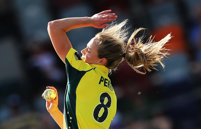 And she's not just a run-smashing bats(wo)man; Perry is also right-arm, medium-fast wicket-taker, too.