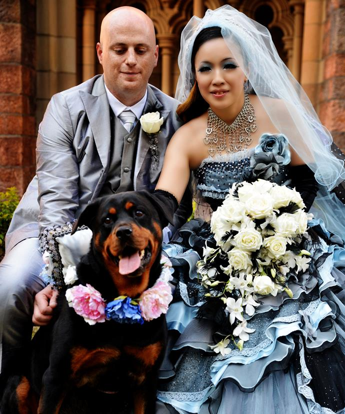 Ryan and I on our wedding day with our pooch, Rody.