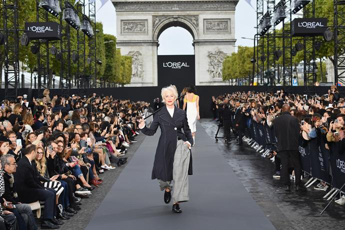 At 72 years of age, Dame Helen is showing no sign of slowing down - and this Parisian runway appearance at last October's Paris Fashion week proves it.