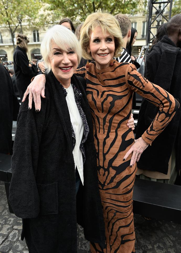 Helen with Jane Fonda in Paris.