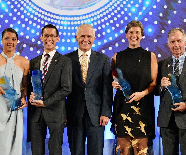 From left, Young Australian of the Year Samantha Kerr, Local Hero Eddie Woo, PM Malcolm Turnbull, Australian of the Year Professor Michelle Yvonne Simmons, and Senior Australian of the Year Dr Graham Farquhar.