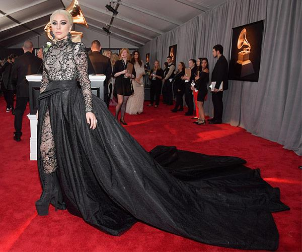 From a meat dress, to an elegant black gown with the most dramatic train... Lady Gaga's Grammys evolution is something to behold.