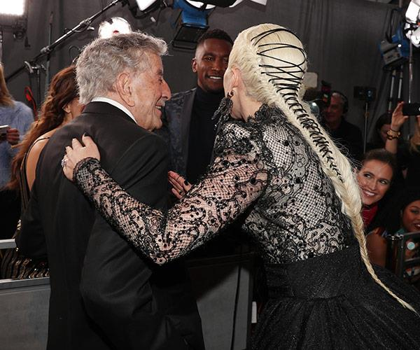Gaga and her co-collaborator Tony Bennett reunite on the red carpet.