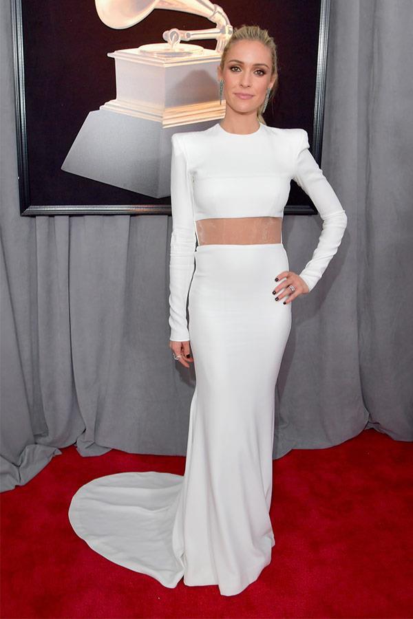 We're loving the sheer panel element across Kristin Cavallari's white dress.