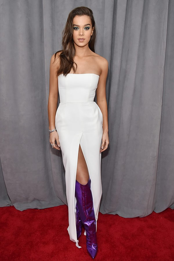 Hailee Steinfeld looks sublime in this chic ensemble... And let's take a moment for her Jessica Rabbit inspired boots.