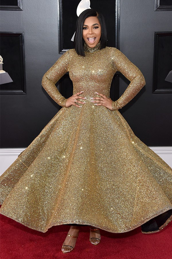 Ashanti is this year's golden gal... What a dress!
