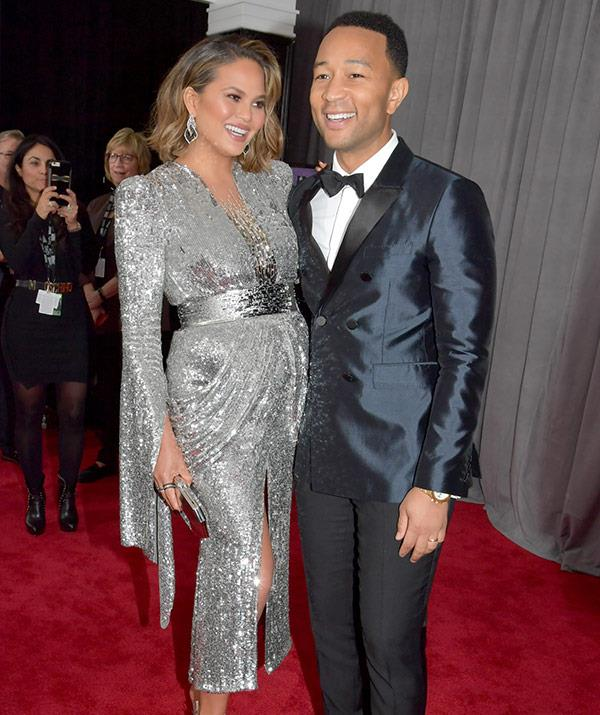Chrissy's mirrored maternity dress wins massive style points!