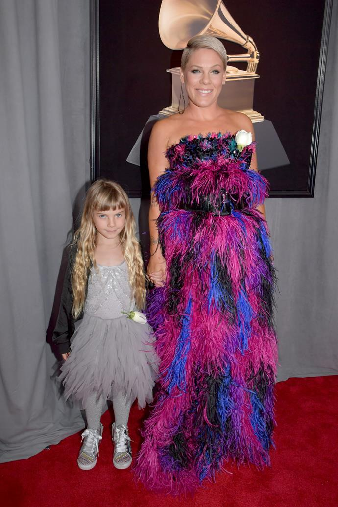 Pink with her daughter, Willow, at the 2018 Grammy Awards.