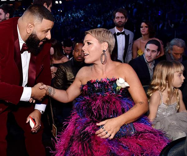 When two legend collide! Pink and Khaled have a moment.