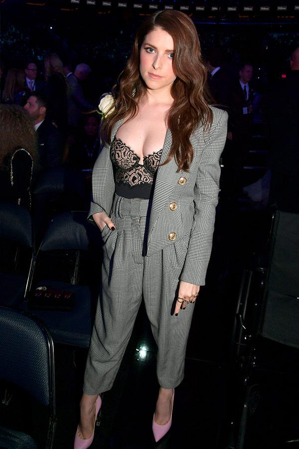 *Pitch Perfect*'s Anna Kendrick suits up in a grey tux.