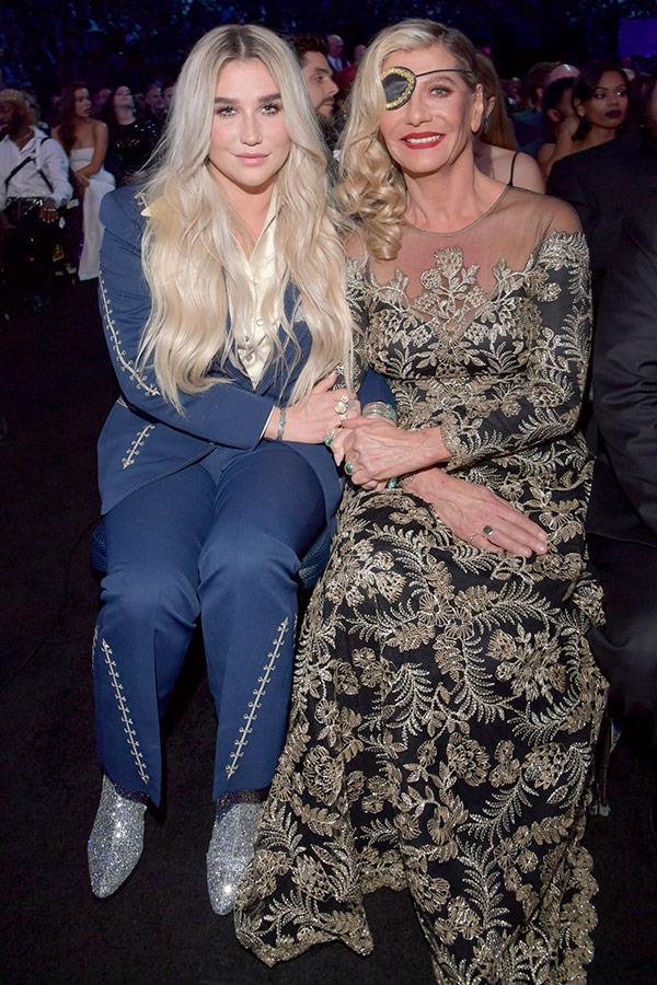 Following Miley's lead, Kesha brought along her mum Pebe Sebert.