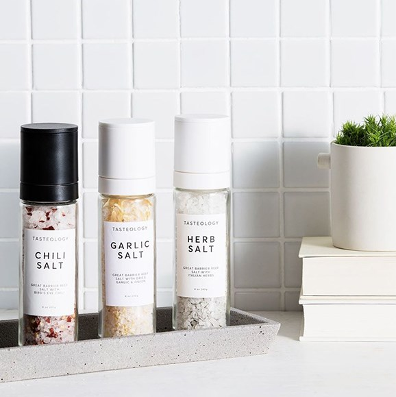"""Treat your very own salt bae to the Tasteology favoured salt trio. You may benefit from this gift too! $29, [from Father Rabbit>(https://fatherrabbit.com/products/tasteology-herb-salt?variant=41809676493