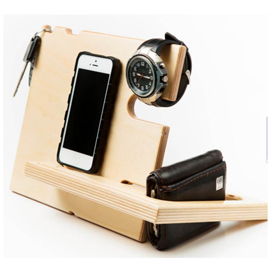 """The Catchall valet is a holdall for his wallet, phone, keys, sunglasses and watch - all the things he wastes his time (and yours!) looking for. $38.28, [from Jigsaw Furnishings on Etsy>(https://www.etsy.com/au/listing/177443881/gifts-for-him?ref=finds_l