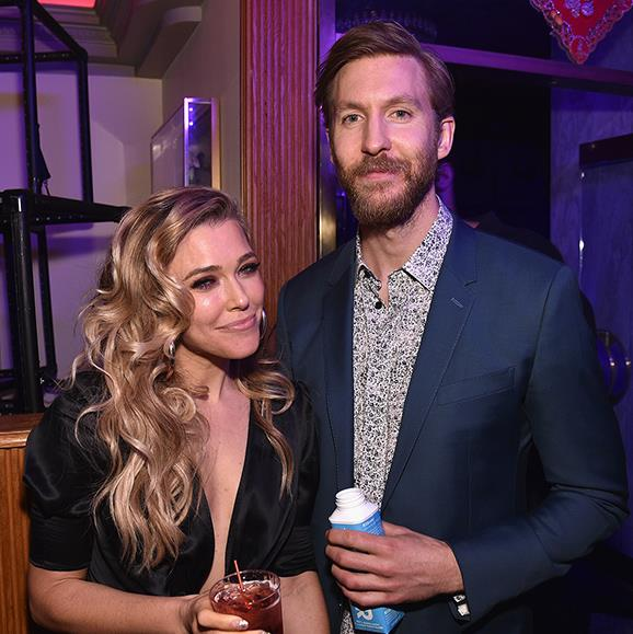 Calvin Harris was spotted sipping coconut water and chatting with singer Rachel Platten.
