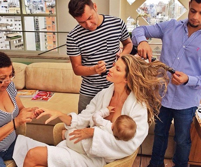 "Supermodel Gisele Bundchen proves she's an incredible multi-tasker by getting her hair, makeup and nails done - all while feeding baby Vivian! ""What would I do without this beauty squad after the 15 hours flying and only 3 hours of sleep?"" she shared."