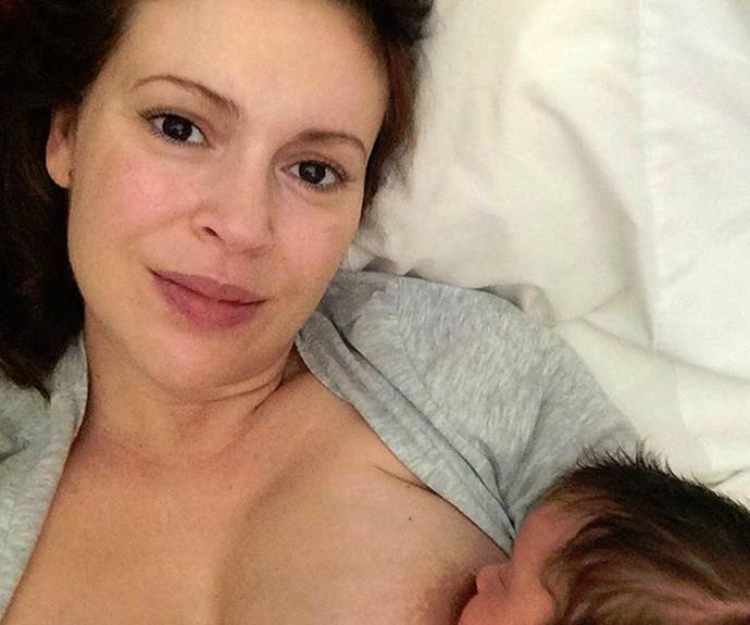 "To celebrate World Breastfeeding Week, Alyssa Milano shared this sweet moment with the hashtag, ""#normalizebreastfeeding""."